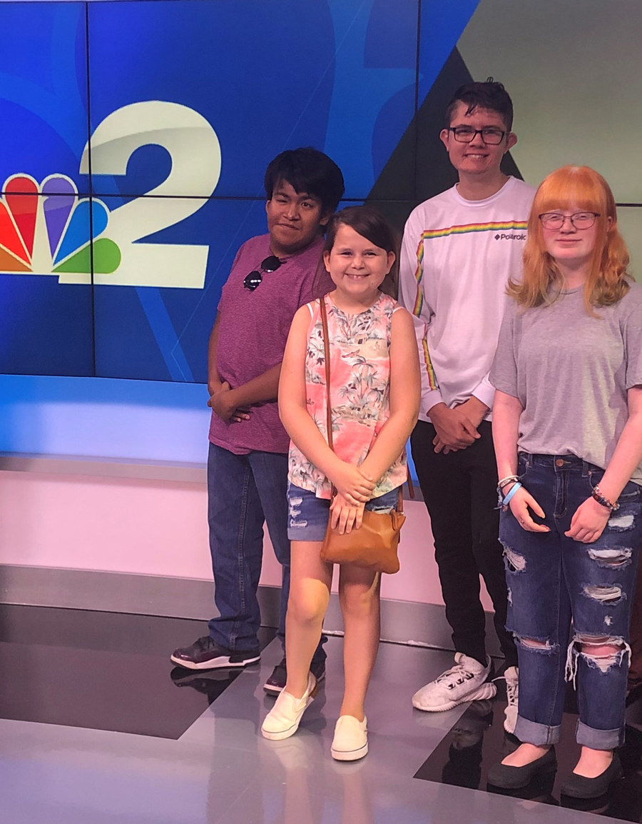 an image of a group of transition students at the NBC news channel studio